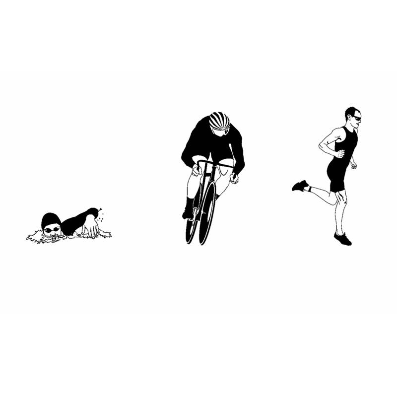 DCTAL Triathlon Sticker Logo Name Swimmer Decal Swimming Posters Vinyl Wall Decals Pegatina Decor Mural Swim Sticker