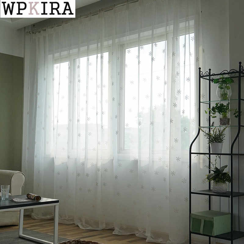 White Snowflake Embroidered Voile Curtains for Bedroom Bay Window Simple Modern Cute Charm Organza Drapes 157&30