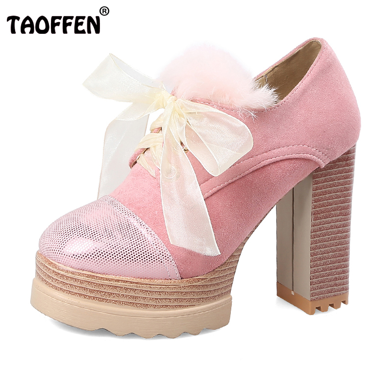 TAOFFEN Size 33-43 Ladies High Heels Sweety Spring Shoes Women Sexy Lace Thick Platform Pumps Women Cross Tied Dating Footwear<br>