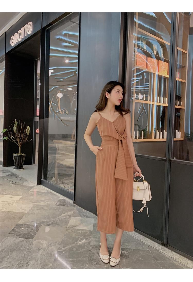 Sling Off Shoulder Sleeveless Striped Jumpsuit 2019 New Fashion V-Neck High Waist Nine Points Wide Leg Jumpsuit Summer 12 Online shopping Bangladesh