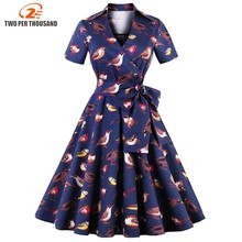 S-4XL Plus Size Cotton Vintage Summer Dress Fashion Animal Bird Print Belts Rockabilly Retro Dress 2018 Party Femme Vestidos(China)