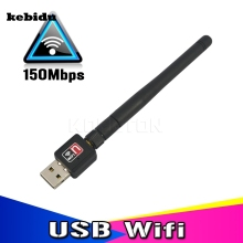 kebidu Mini Wireless 150M Wifi Adapter Network Card USB External WiFi Receiver 150Mbps With Antenna for PC Computer 802.11b/g/n(China)