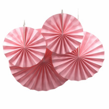 4pcs Pink Hanging Tissue Paper Folding Fans Flower for Baby Shower Party/ Event/Festival and Home Decoration