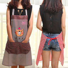New Hot sale Men Women Cartoon Bear Stripe Dot Apron Waterproof Chef Kitchen Bib With Pocket 3YN