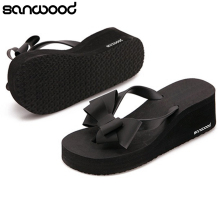 2016 New Arrival Women's Fashion Hawaii Beach Sandals Summer Bowknot Shoes Flat Wedge Flip Flops(China)