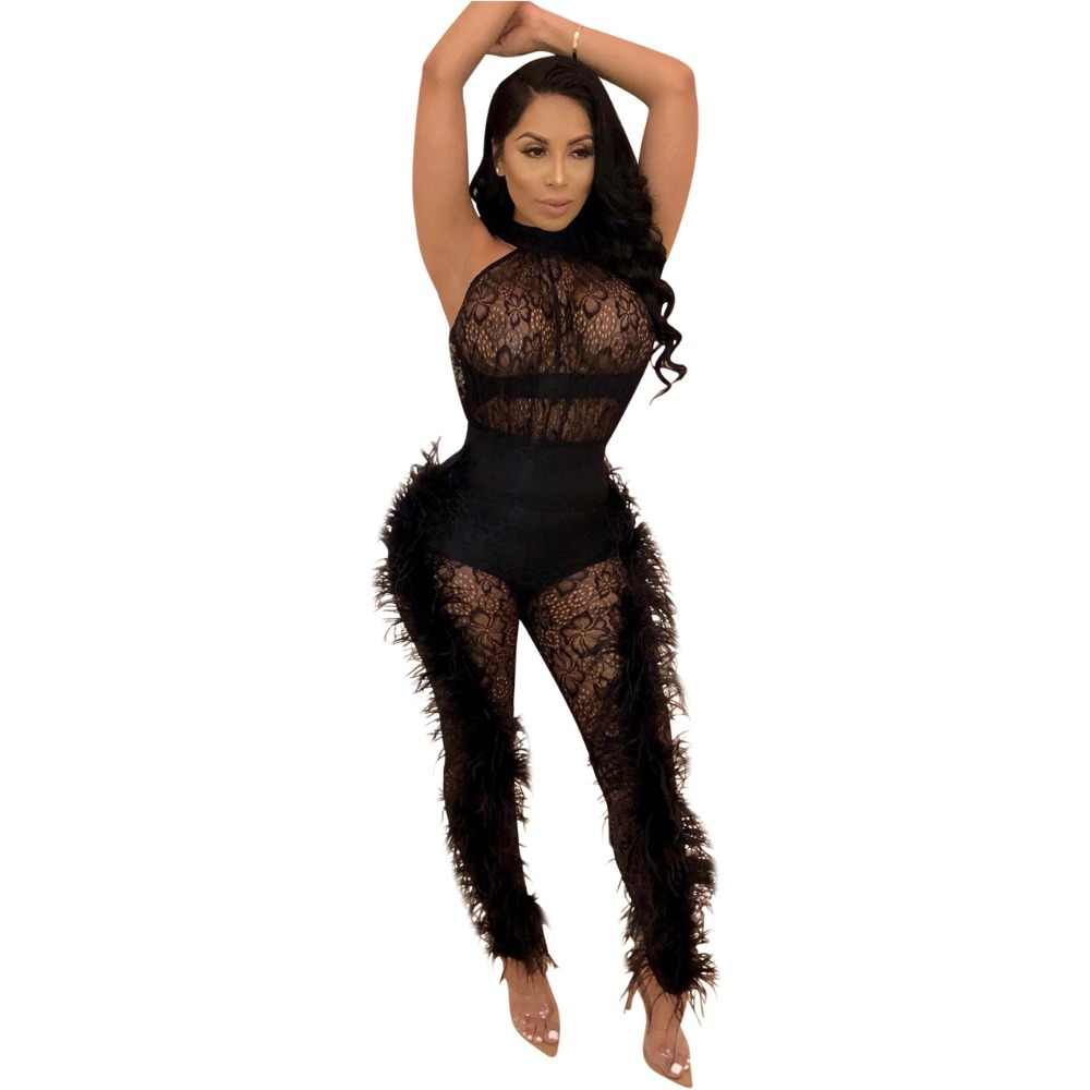 470885ec827 2019 women sleeveless Halter Lace Mesh Feather Skinny long jumpsuit Winter  Lady Fashion bodycon party romper