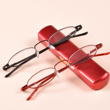 Ladies Portable Reader with Case, Stainless Steel Reading Glasses Power +1.0 to +3.5, High quality Presbyopia glasses Red&Purple(China)