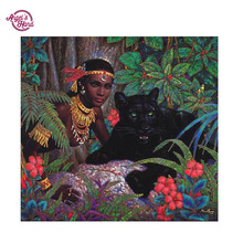 ANGEL'S HAND DIY Diamond Embroidery 5D Diamond Painting black panther Cross Stitch Mosaic Pattern Full round Rhinestone painting