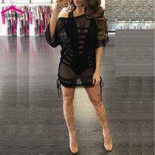 PULBEANISS Vestido De Verano 2017 Woman Summer Dresses Mesh Lace Clothes for Women Femme Sexy Club Perspective Night Party(China)