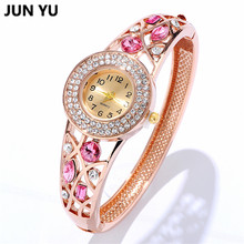 JUNYU Fashion Bracelet Women Watch 2017 Imitation Diamond Dress Quartz Wristwatches Gold Bangle Watches 5 Color