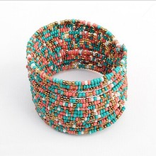 2017 New Products Popular Europe United States Bohemian Multicolor Rice Beads Open Bracelet Best Friends Holiday Gifts