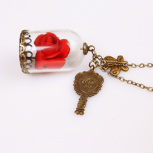 5 pc/lot Movie Beauty and the Beast necklece pendant Red Rose and Castle life appliance Factory direct sale 3 colour