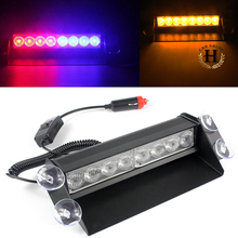 8 Led Flash Boat Truck Car Flashing Warning Emergency Windshield Unit 3 Mode Police Strobe Light Lamp Blue Red White Amber