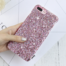 DOEES Shiny Girly Bling Phone Case For Apple iPhone 7 Plus 3D Colorful Sequin Glitter Back Cover For iPhone 6 6S Plus Samsung S6