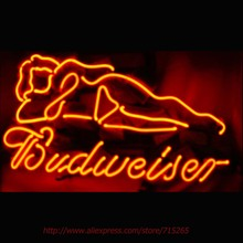 BUDWEISER BUD LIGHT Neon Sign LIVE Girl Neon Bulbs Sign Real Glass Tube Handcrafted Recreation Beer Energy Drink Advertise 17X14