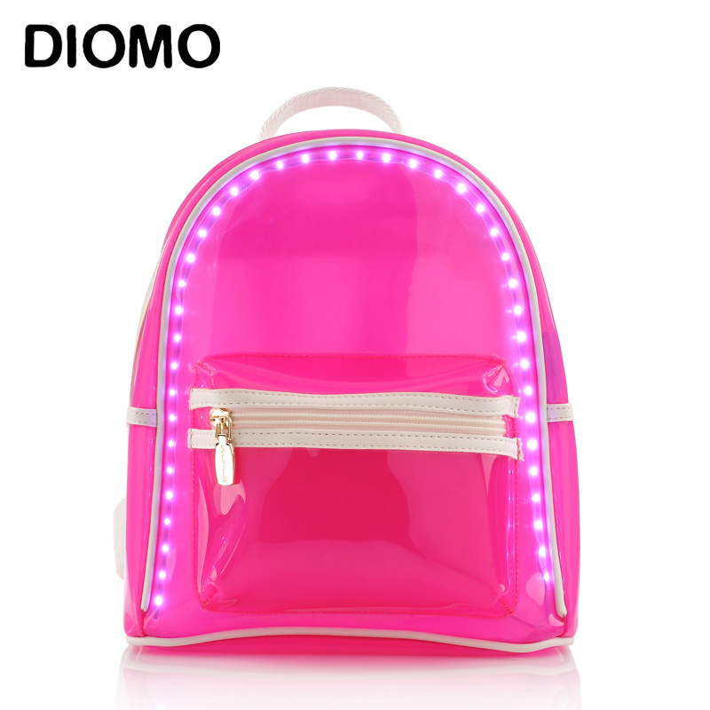 DIOMO women backpack summer led backpack flash light transparent beach bag waterproof high quality woman travel bags<br>