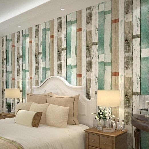 beibehang Wood Scrap wood Reclaimed Wood Wallpapers Natural Beige Blue Striped wood Wallpaper PVC papel de parede 3d walll paper<br>