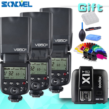 3xGodox V850II 2.4G GN60 Wireless X System Li-ion Battery Speedlite +X1T-C Trigger Transmitter for Canon EOS Cameras(China)