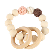 1 Pcs Natural Wooden Teethers Wood Beads Baby Teethers for Newborn Stroller Hanging Toy Hand Weave Bracelet Kids Teething Toy(China)