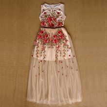 S-XL 2017 new lady nice luxury vestido designer heavy embroidery patchwork vest maxi long slim women's dresses 1522