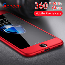 Full Cover Red Case For iPhone 6 6S 7 8 Plus With Tempered Glass 360 Degrees Case For iPhone 7 7 Plus 6 6S Plus Phone Case Capa(China)