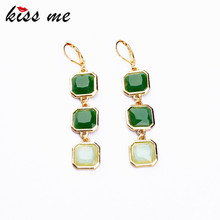 KISS ME New Styles 2017 Fashion Jewelry Long Earrings Light Green Square Pendant Earrings Christmas Gifts