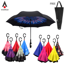 Wholesale Windproof Reverse Folding Double Layer Inverted Chuva Umbrella Self Stand Inside Out Rain Protection C Hands For Car(China)