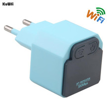 KuWFi 300Mbps Wireless WiFi Repeater 2.4Ghz AP Router 802.11N Wi-fi Signal Amplifier Range Extender Booster With US EU Plug(China)