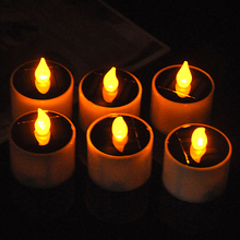 6pcs/lot Solar Power LED Candles Flameless Warm Tea Lights Lamp ABS Plastic Solar Energy Candle for Outdoor / Indoor Decoratio