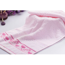 High Quality Soft Pink Cotton Jacquard Face Towel Love Heart Pattern Practical Absorbent Home Textile Bathroom Towel 34x76cm