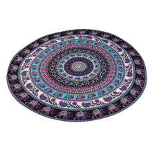 New Qualified Purple Elephant Round Beach Pool Home Shower Towel Blanket Table Cloth Yoga Mat Tablecloth Beach Towel D40Au2