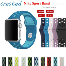 CRESTED sport silicone watch strap for apple watch band 42 mm/38 Silicone wrist band Rubber bracelets for iwatch strap 1/2/3(China)
