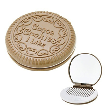 Fashion NEW Mini Mirror Women Cute Chocolate Cookie Shaped Makeup Mirror with 1 Comb Set Makeup Tool *41