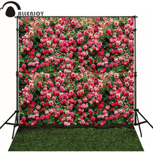 Allenjoy backdrop spring photography wedding background children and baby Rose Wall lawn for photo studio