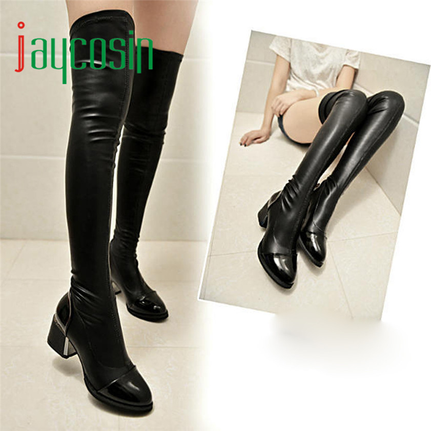 High quality Fashion Leather Over Knee Boots Women Toe Elastic Stretch Thick Heel Boots 170210<br><br>Aliexpress