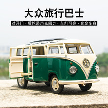 New 1:32 Toy Car Old Bus Metal Alloy Diecast Car Model Miniature Scale Model Sound and Light Model Car Toys For Children