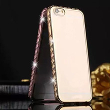 1 Pc/lot Slim Lace Plating Diamond Cell Phone Case Back Cover For iPhone 6 6s Plus
