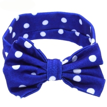Newly Design Little Girls Headbands Polka Dot Printed Big Bow Head Bands Hair Accessories 160413 Drop Shipping