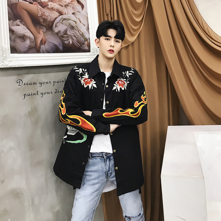 Male Trench Coat Hip Hop Steampunk Embroidery Retro Vintage Print Long Windbreaker Jacket Men High Street Fashion Mens Jackets