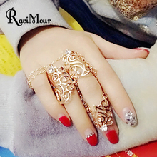 RAVIMOUR Chain Rings for Women Fashion Set/3 Kastet Bague Femme Anillos Mujer Jewelry Mid Nail Knuckle Finger Ring Parure Bijoux