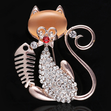 JINGLANG Fashion Gold Color Opal Animal Brooches High Quality White Rhinestone Cat Brooches For Women Decoration Jewelry(China)
