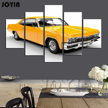 5 Piece Wall Decor Muscle Yellow Car Pictures Classic Auto Canvas Art Painting For Man Room Decoation Modern Prints No Frame(China)