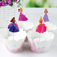 Wholesale 120pcs Cartoon Princess Girl Cupcake Wrappers and Topper pick children Birthday Wedding Party Cake Decoration Supplies(China)