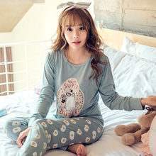 LOW Price 2016 Spring & Autumn Winter Girl Long Sleeve Pajamas For Women Lovely Cartoon Women Clothing Sleepwear Send goggles