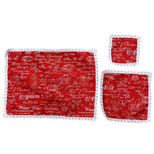 5pcs/lot red Linen printed words meal pad dimity meal pad christmas table mat coaster christmas decoration wholesale