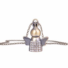 MUB - Vintage Mini Perfume Pendant Necklace With Crystal,High Quality Alloy & Glass Perfume Bottle Pendant With Package