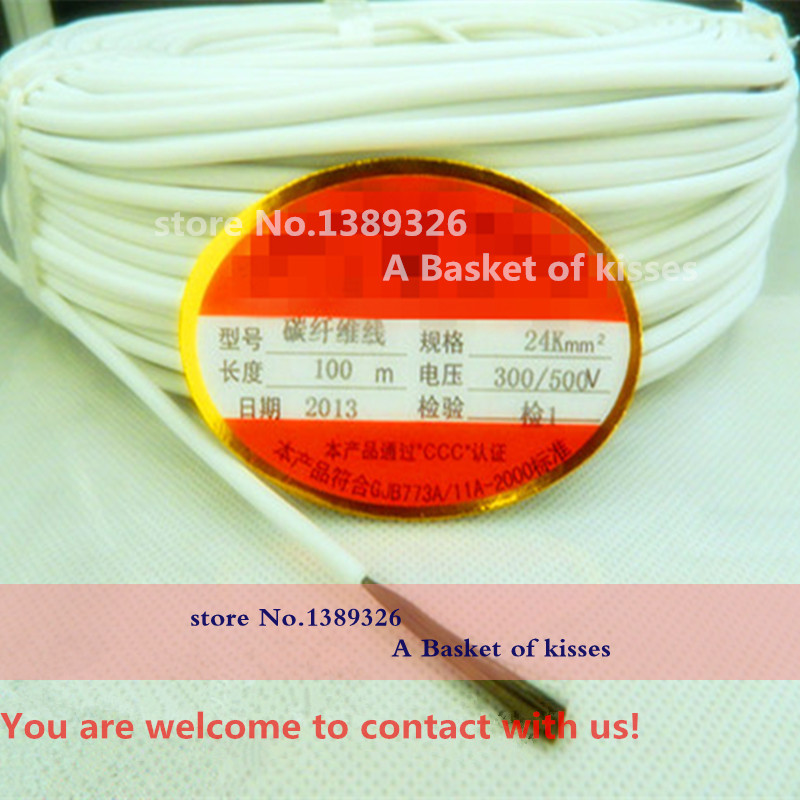 The new floor heating carbon fiber line White Silicone 3.3mm diameter 24K17Ohm/M length 100M<br><br>Aliexpress