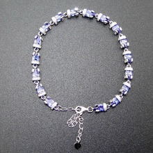 "Fine Jewelry 100% 925 Sterling Women Jewelry Silver Bracelet with Tanzanite Color Stone DR01407207B 7""+1""extension Chian as gift(China)"
