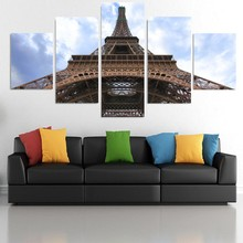 5 Pieces HD Print Painting Eiffel Tower Building Modern Picture For Modern Decorative Bedroom Living Room Home Wall Art Decor(China)