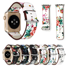 Nice Floral Printed Leather Loop Strap for iwatch for Apple Watch Band 38mm 42mm(China)